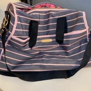 gently preloved Betsey Johnson pink & grey duffel